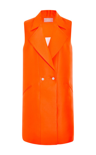 Medium honor orange neon neoprene vest dress with pearl buttons