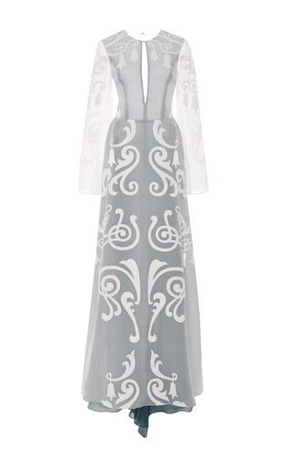 Medium honor white white pigment fleur de lis gown with blue contrast