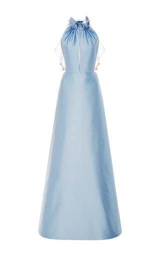 Medium honor blue light blue mikado long dress with ruffle collar