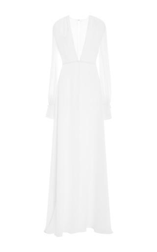 Medium honor white white silk cady plunge neck gown