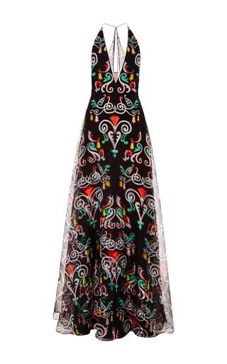 Medium honor black black fleur de lis organza plunge neck gown