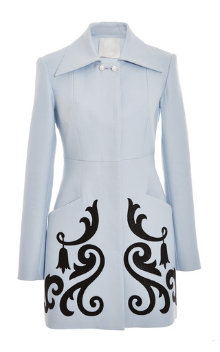 Medium honor blue light blue twill straight coat with crystal embellishment