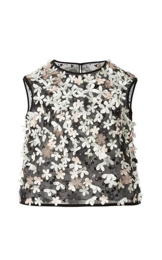 Medium monique lhuillier multi noir floral embroidered tulle shell