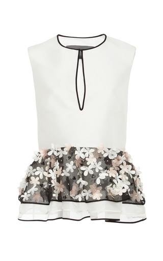 Medium monique lhuillier multi white crepe top with floral embroidered peplum