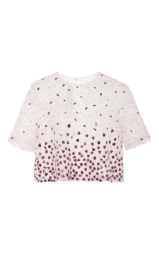 Medium monique lhuillier multi pink multi flower embroidered evening top