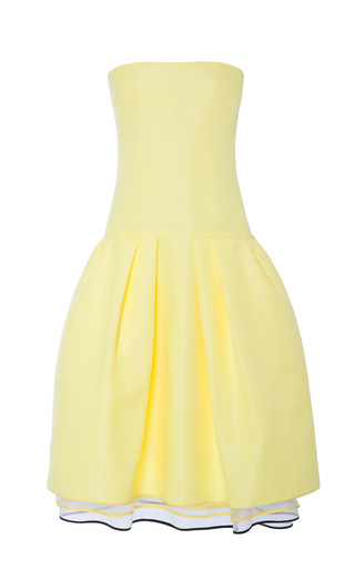 Medium monique lhuillier yellow pale yellow cotton twill strapless drop waist dress