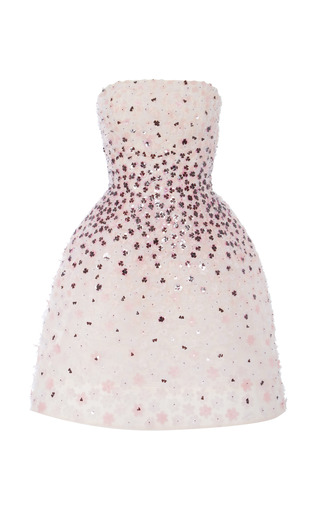 Medium monique lhuillier multi pink multi flower embroidered strapless dress