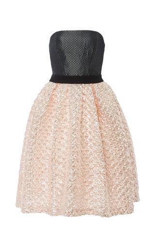 Medium monique lhuillier coral coral metallic matelasse dress with noir waffle weave bodice