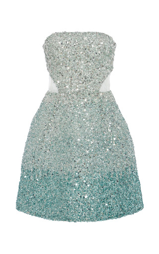 Medium monique lhuillier blue ombre ocean blue embroidered strapless dress