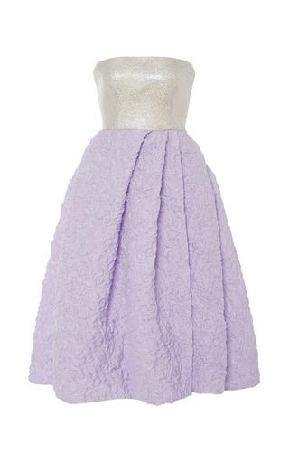 Medium monique lhuillier purple lavender dress with luminous jacquard strapless bodice