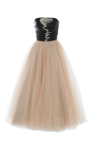 Medium monique lhuillier black noir liquid satin strapless bodice and ombre tulle dress
