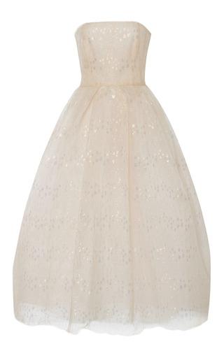 Medium monique lhuillier white blush iridescent dot chantilly lace strapless dress