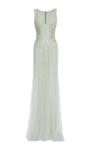 Medium monique lhuillier green mint embroidered tulle v neck gown