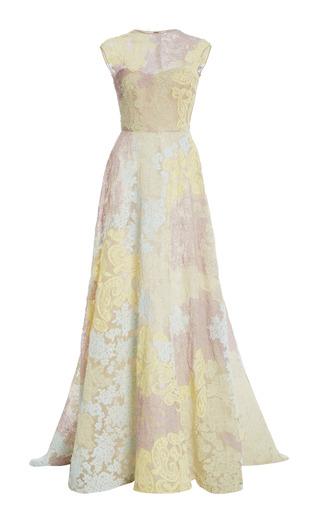 Medium monique lhuillier multi pastel patchwork lace embroidered gown