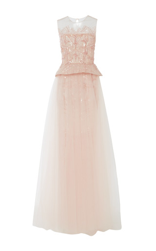Medium monique lhuillier nude petal embroidered tulle sleeveless gown