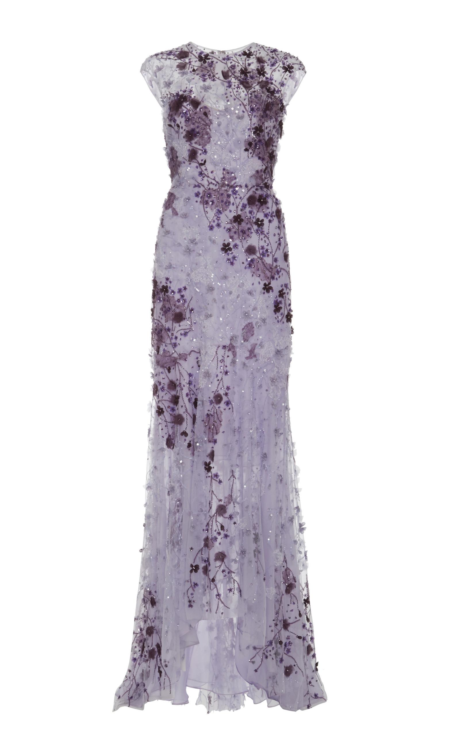 Lavender Ombre Lace Embroidered Gown by Monique | Moda Operandi