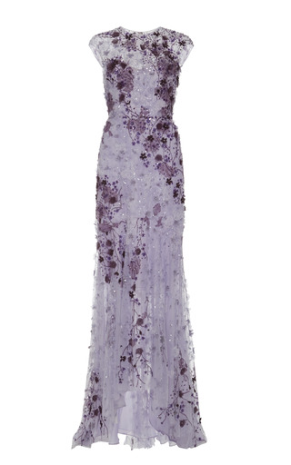 Medium monique lhuillier purple lavender ombre lace embroidered gown