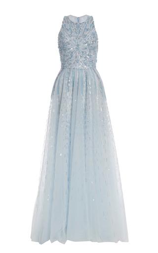 Medium monique lhuillier blue iridescent blue embroidered tulle gown