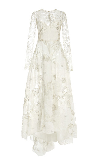 Medium monique lhuillier metallic white and metallic lace embroidered tulle long sleeve dress