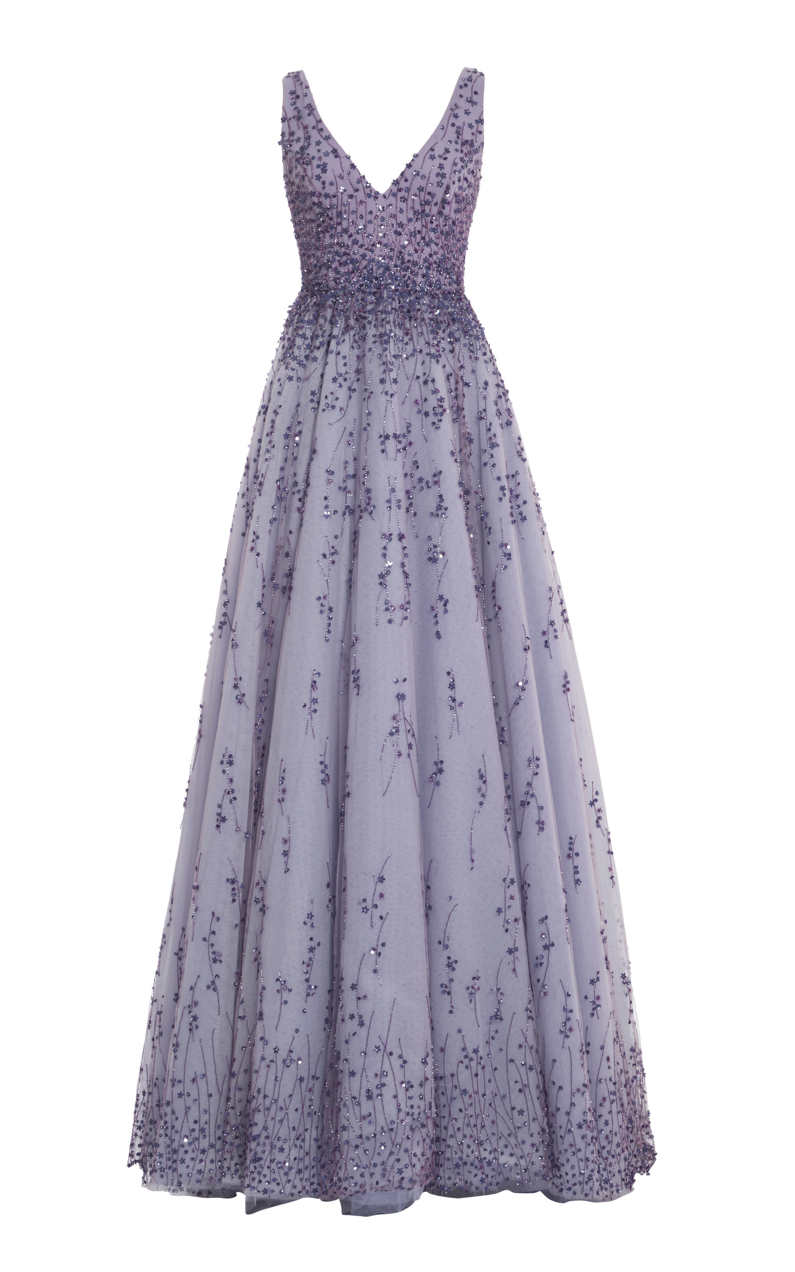 Violet Embroidered Tulle V-Neck Ball Gown by Monique Lhuillier ...