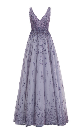 Medium monique lhuillier purple violet embroidered tulle v neck ball gown