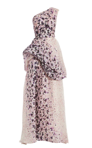 Medium monique lhuillier multi pink printed silk twill gazar one shoulder ball gown