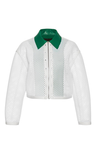 Medium alexander wang white chalk workwear bomber with grommeted placket