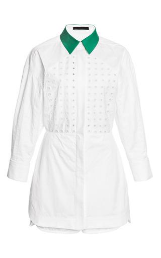 Medium alexander wang white chalk shirt dress and short hybrid with grommet bib