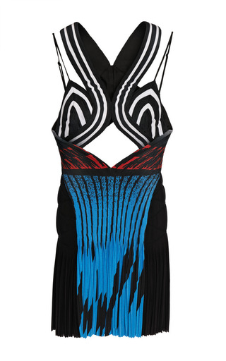 Medium alexander wang multi airtex hazard cutout cami dress with accordion pleated drape