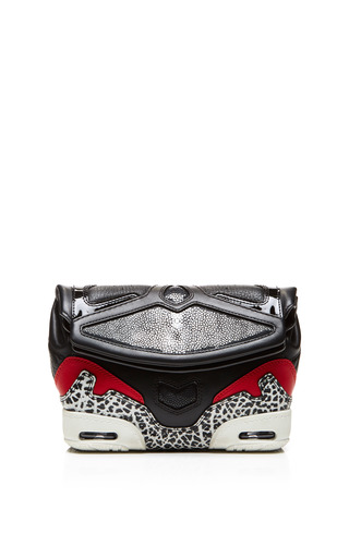 Medium alexander wang black sneaker clutch black lacquer and stingray