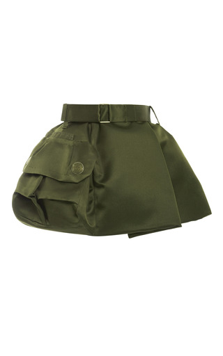 Medium marc jacobs green military green silk satin twill mini skirt