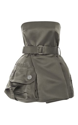 Medium marc jacobs green khaki silk satin twill strapless dress