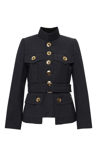 Medium marc jacobs blue blue melange suiting four pocket military jacket 2