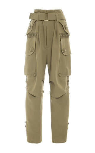 Medium marc jacobs olive olive wool crepe cargo pant