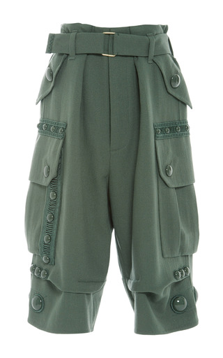 Medium marc jacobs green green wool crepe cropped cargo pant