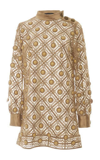 Medium marc jacobs gold gold diagonal embroidery dress