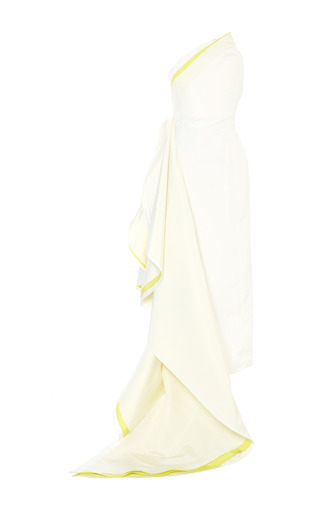 Medium rosie assoulin yellow okeeffe gown in white with electric yellow
