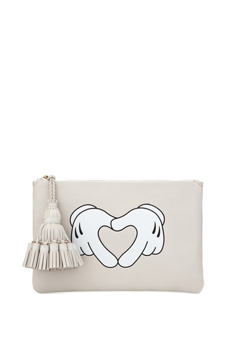 Medium anya hindmarch white heart hands georgiana clutch