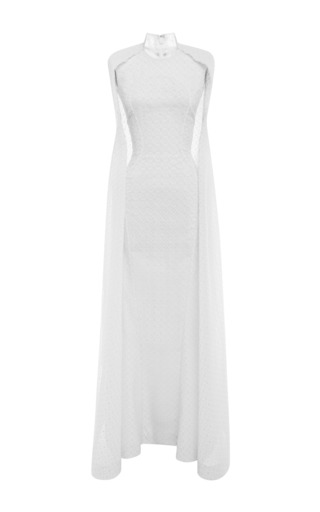 Medium zac posen brown embroidered organza gown in papyrus