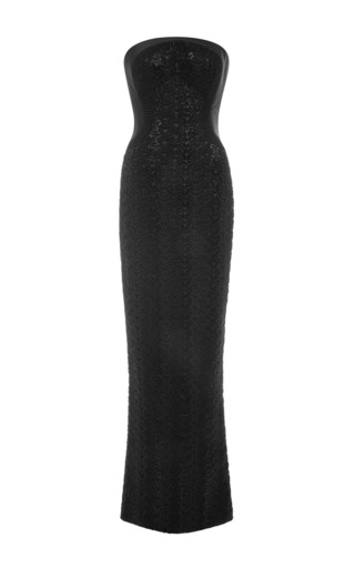 Medium zac posen black hand beaded embroidery gown in caviar