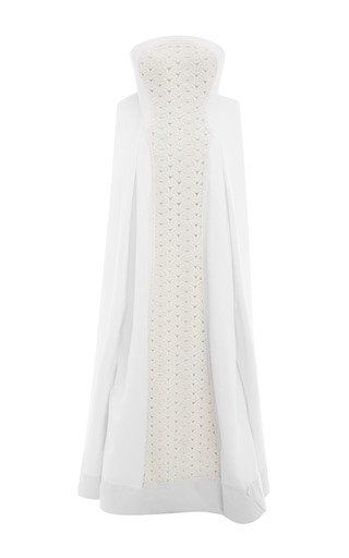 Medium zac posen white hand beaded embroidery gown in optical white