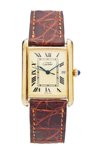 Medium portero gold vintage cartier must de cartier silver gold plated tank watch on a brown leather strap from portero