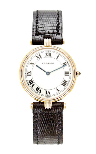 Medium foundwell black vintage cartier 18k gold vendome mens tri color gold watch from foundwell