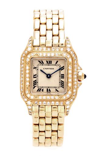 Medium tara compton yellow vintage cartier 18k yellow gold panthere watch with double row diamonds from tara compton