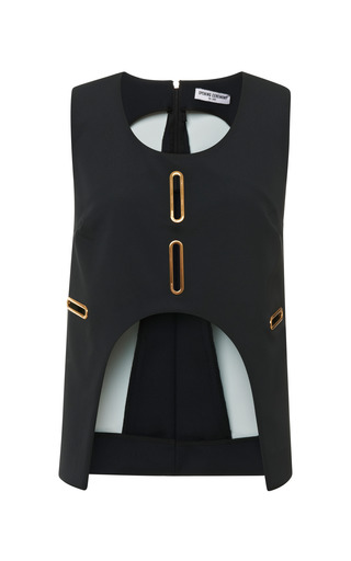 Medium opening ceremony black marny double face cut out grommet tank in black