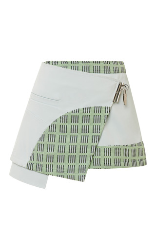 Medium opening ceremony green marny double face utility mini skirt in ceramic green