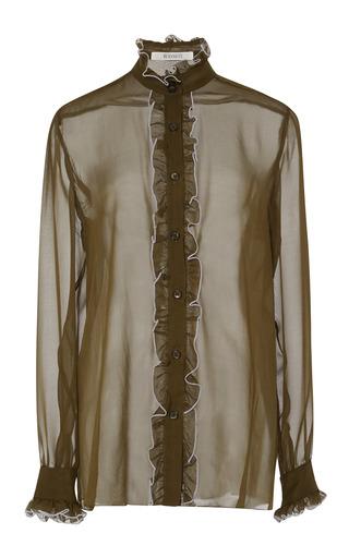 Medium rodarte olive silk chiffon ruffled blouse in olive