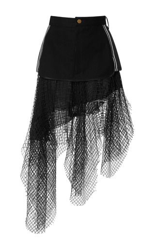 Medium rodarte multi denim and rib knit skirt with black net overlay