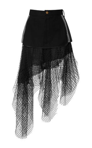 Medium rodarte multi denim and rib knit skirt with black net overlay