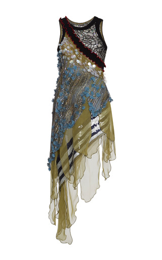 Medium rodarte multi hand embroidered and painted lace and chiffon dress in striped blue